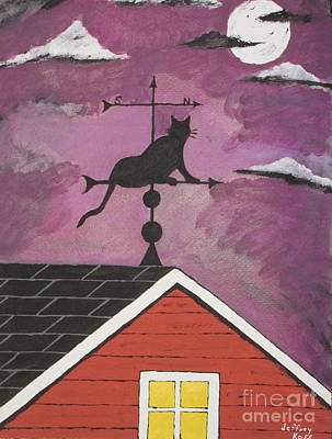 Black Cat Weathervane Art Print by Jeffrey Koss