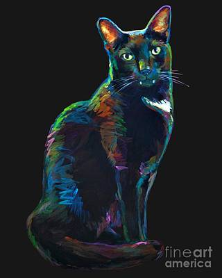 Painting - Black Cat With Fangs by Robert Phelps