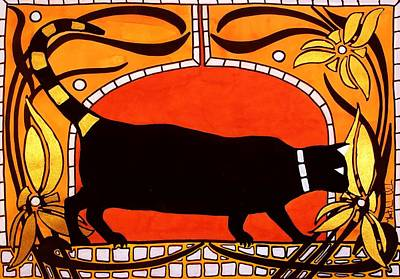 Painting - Black Cat With Floral Motif Of Art Nouveau By Dora Hathazi Mendes by Dora Hathazi Mendes