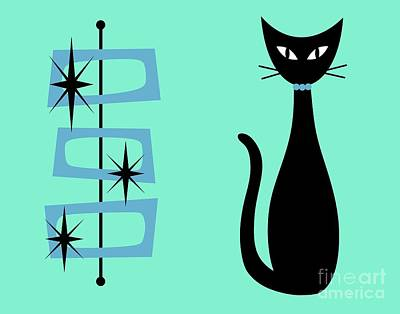 Digital Art - Black Cat With Mid Century Shapes by Donna Mibus