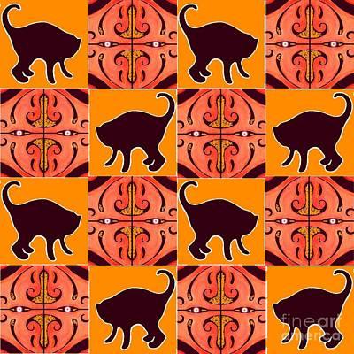 Digital Art - Black Cats And Orange Lanterns by Helena Tiainen