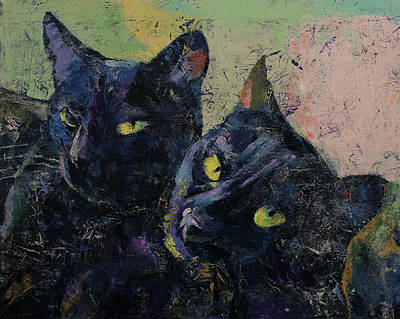 Funny Cat Painting - Black Cats by Michael Creese