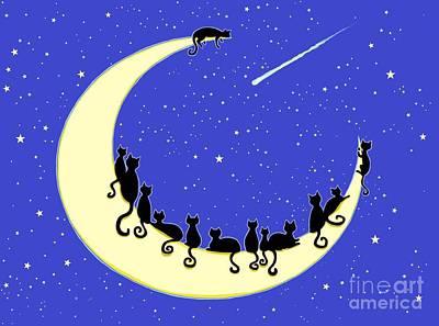 Black Cats Moon Art Print