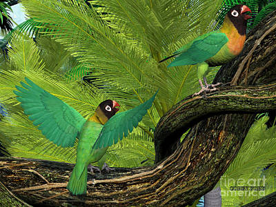 Laying Digital Art - Black-cheeked Lovebirds by Corey Ford