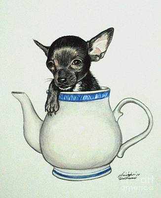 Painting - Black Chihuahua In A Teapot by Christopher Shellhammer