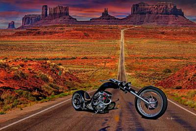 Black Chopper At Monument Valley Art Print by Russ Harris