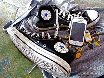 Converse Shoe Digital Art - Black Chucks Atfer A Long Walking by Don Pedro De Gracia