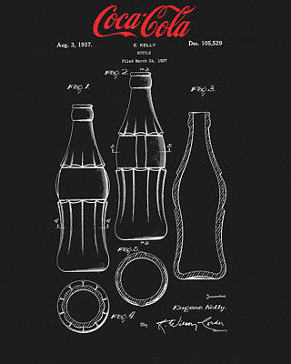 Mixed Media - Black Coca Cola Bottle Patent by Dan Sproul