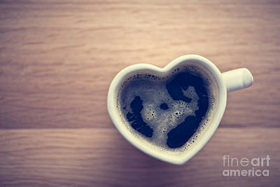 Organic Photograph - Black Coffee, Espresso In Heart Shaped Cup. Love, Valentine's Day, Vintage by Michal Bednarek
