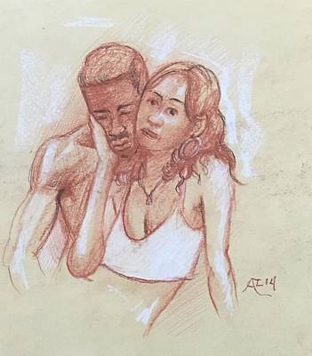 Drawing - Black Couple by Alejandro Lopez-Tasso