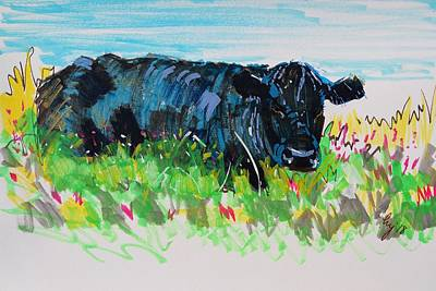 Painting - Black Cow Lying Down Painting by Mike Jory