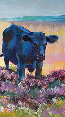 Painting - Black Cow On Dartmoor - Looking Moody by Mike Jory