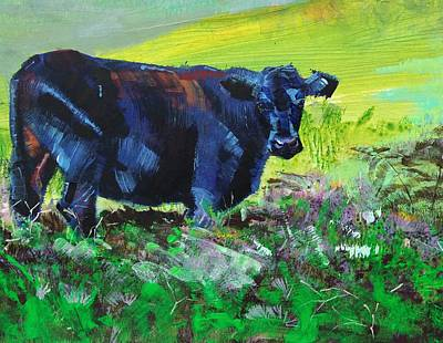 Painting - Black Cow Painting by Mike Jory
