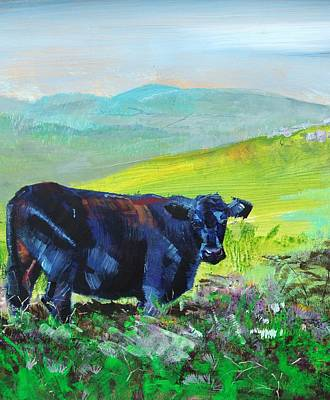Painting - Black Cow With Distant Hills Painting by Mike Jory