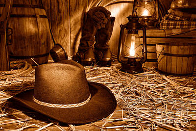 Black Cowboy Hat In An Old Barn - Sepia Art Print