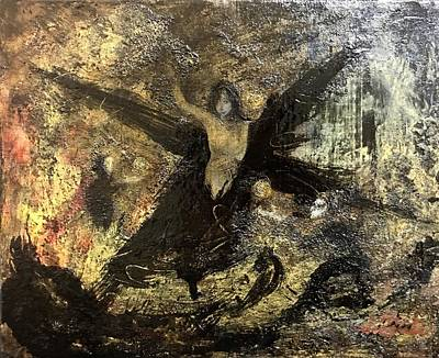 Woman Painting - Black Cross by Hiroyuki Suzuki