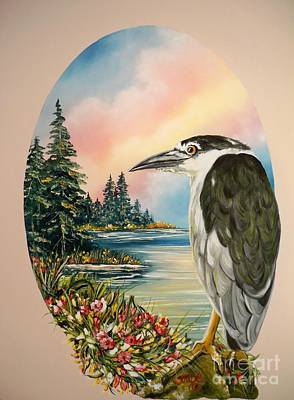 Painting - Flying Lamb Productions                     Black Crowned Heron by Sigrid Tune