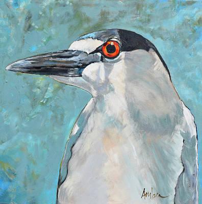 Heron Painting - Black Crowned Night Heron #1 by Amber Foote