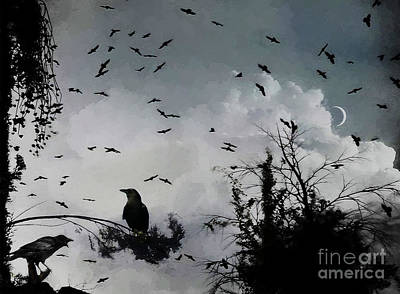 Crows Painting - Black Crows  by Gull G