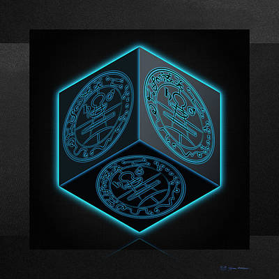 Digital Art - Black Cube With Six Seals Of Solomon  by Serge Averbukh