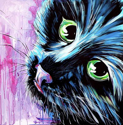 Painting - Black Cute Kitten by Kovacs Anna Brigitta