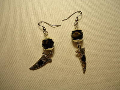 Wire Photograph - Black Dagger Earrings by Jenna Green