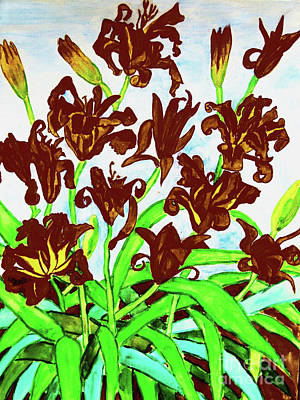 Painting - Black Daily Lilies by Irina Afonskaya