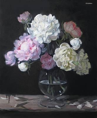Painting - Black Day For Peonies by Robert Holden