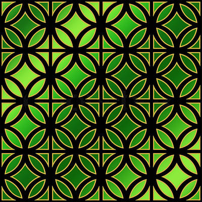 Digital Art - Black Design On Emerald Green by Chuck Staley