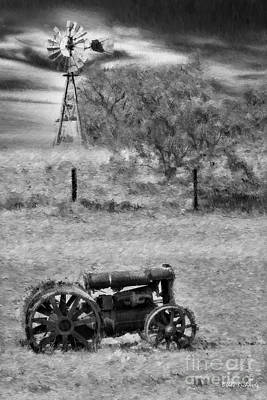 Photograph - Black Diamond Mines Trackter Black And White by Blake Richards
