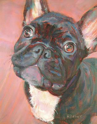 Black Dog, Looking Cute Art Print by Robie Benve