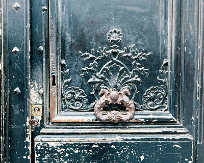 Photograph - Black Door - Paris, France by Melanie Alexandra Price