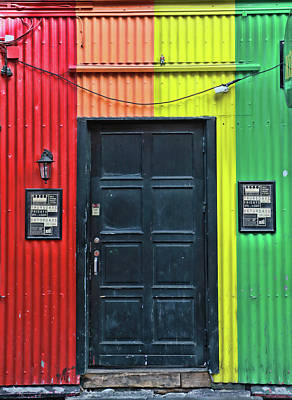 Black Door Surrounded By Color Art Print