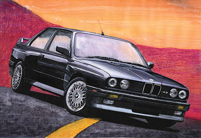 Bmw M3 Painting - Black E30 Bmw M3 by Rod Seel