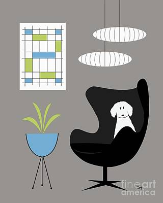 Digital Art - Black Egg Chair With White Dog by Donna Mibus