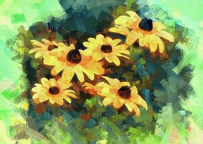 Digital Art - Black-eyed Susan Abstract by Ron Grafe