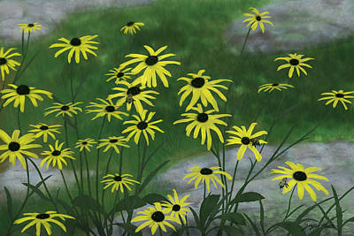 Painting - Black Eyed Susans 1 by Steven Powers SMP
