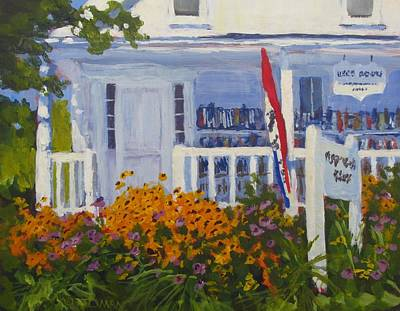 Black Eyed Susans And Used Books  - Art By Bill Tomsa Original