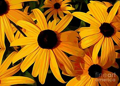 Photograph - Black Eyed Susans Melting Colors Effect by Rose Santuci-Sofranko
