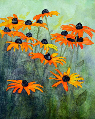 Black Eyed Susan Painting - Black Eyed Susans by Moon Stumpp