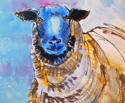 Mixed Media - Black Face Sheep Painting by Mike Jory