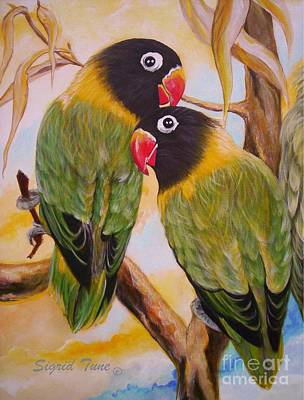 Painting - Black Faced Love Birds.  Chloe The Flying Lamb Productions  by Sigrid Tune