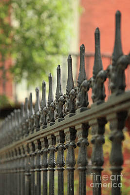 Photograph - Black Fence And Red Wall by Heather Green