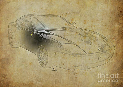 Car Mixed Media - Black Ferrari, Christmas Gift For Men by Pablo Franchi