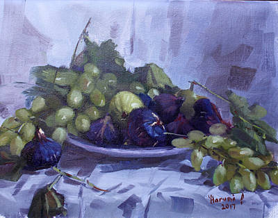 Grape Wall Art - Painting - Black Figs And Grape by Ylli Haruni