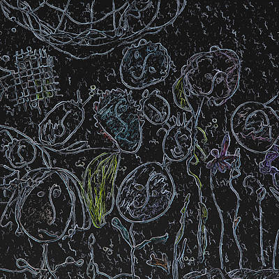 Black Flower People Art Print