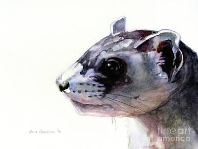 Black-footed Ferret Painting - Black-footed Ferret by Maria Kaprielian