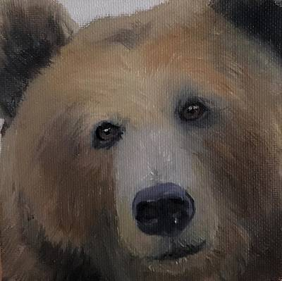 Painting - Black Forest Big Bear Cabin Rustic Lodge Portrait by Michele Carter