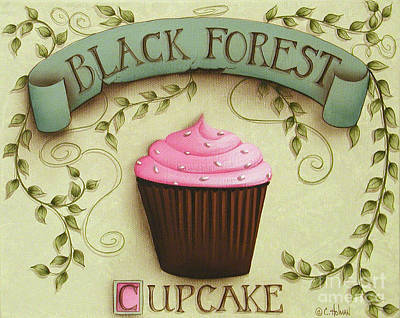 Chocolate Cake Painting - Black Forest Cupcake by Catherine Holman