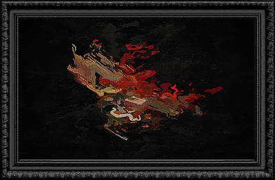 Digital Art - Black Framed Abstract In Playful Red And Brown by Clive Littin